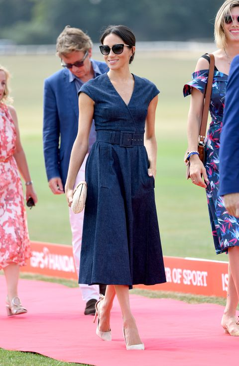 09e4caa0763a Meghan Markle in Denim Caroline Herrera at the Sentebale Polo Cup ...