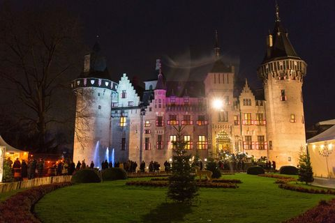 Landmark, Night, Building, Lighting, Castle, Château, Architecture, Light, Estate, Sky,