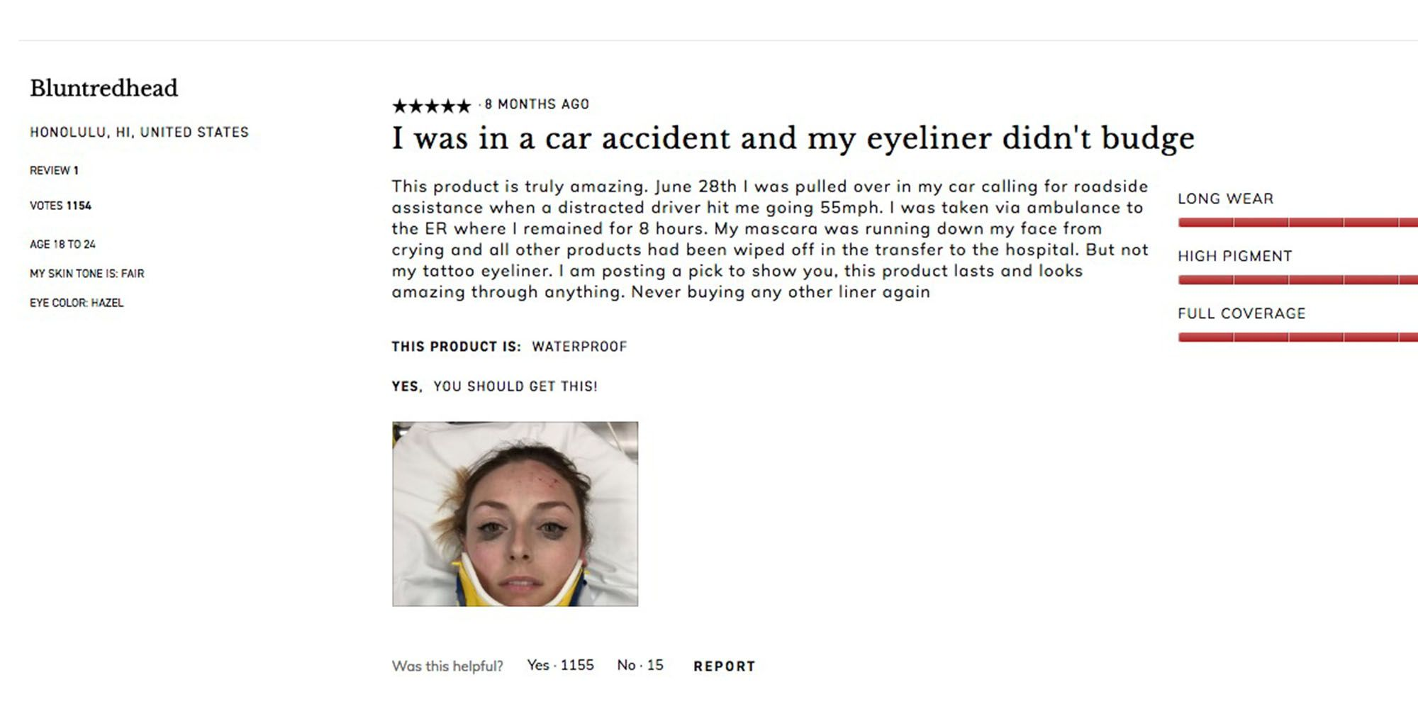 Woman Posts Kat Von D Eyeliner Review After Car Accident