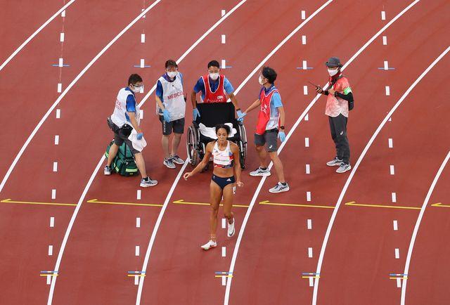 la atleta británica katarina johnson thompson en los 200m del heptatlón