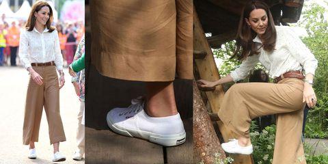 凯特王妃脚踩Superga 2750小白鞋出席伦敦切尔西花展