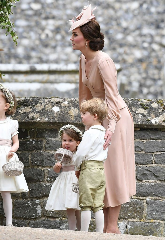 Kate middelton with George and Charlotte at Pippa Middleton's wedding