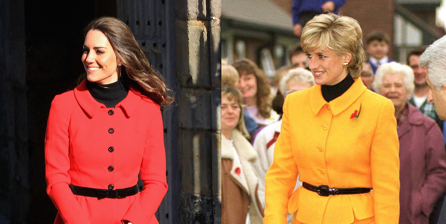 Kate Middleton and Princess Diana wearing similar peplum suits with black belts.