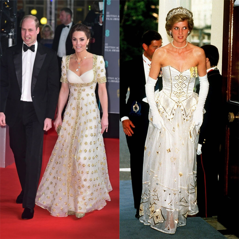 kate middleton bafta dress 2020 princess diana German Embassy 1986