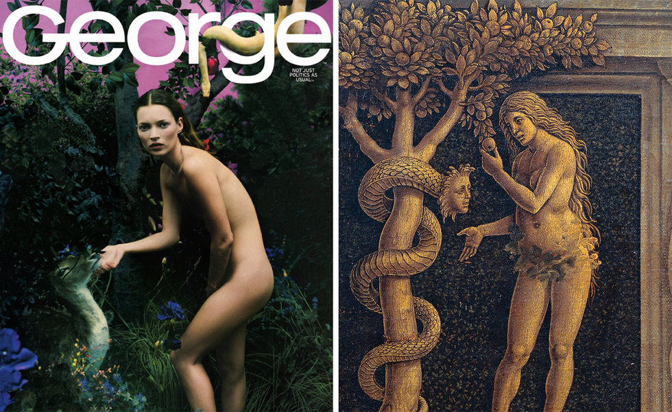 Kate Moss appeared nude as Eve on the cover of George , while in that issue Kennedy himself appeared nearly nude.