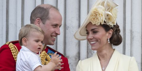 london, england   june 08 prince william, duke of cambridge with catherine, duchess of cambridge, princess charlotte of cambridge, prince george of cambridge and prince louis of cambridge during trooping the colour, the queen's annual birthday parade, on june 8, 2019 in london, england photo by mark cuthbertuk press via getty images