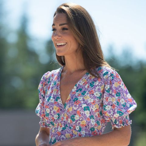 kate middleton wows in floral midi dress as she plants a garden for children's hospice week