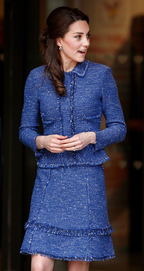 Kate Middleton with Blue Tweed Two Piece Set
