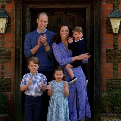 kate middleton wows in floral blue dress during clap for carers