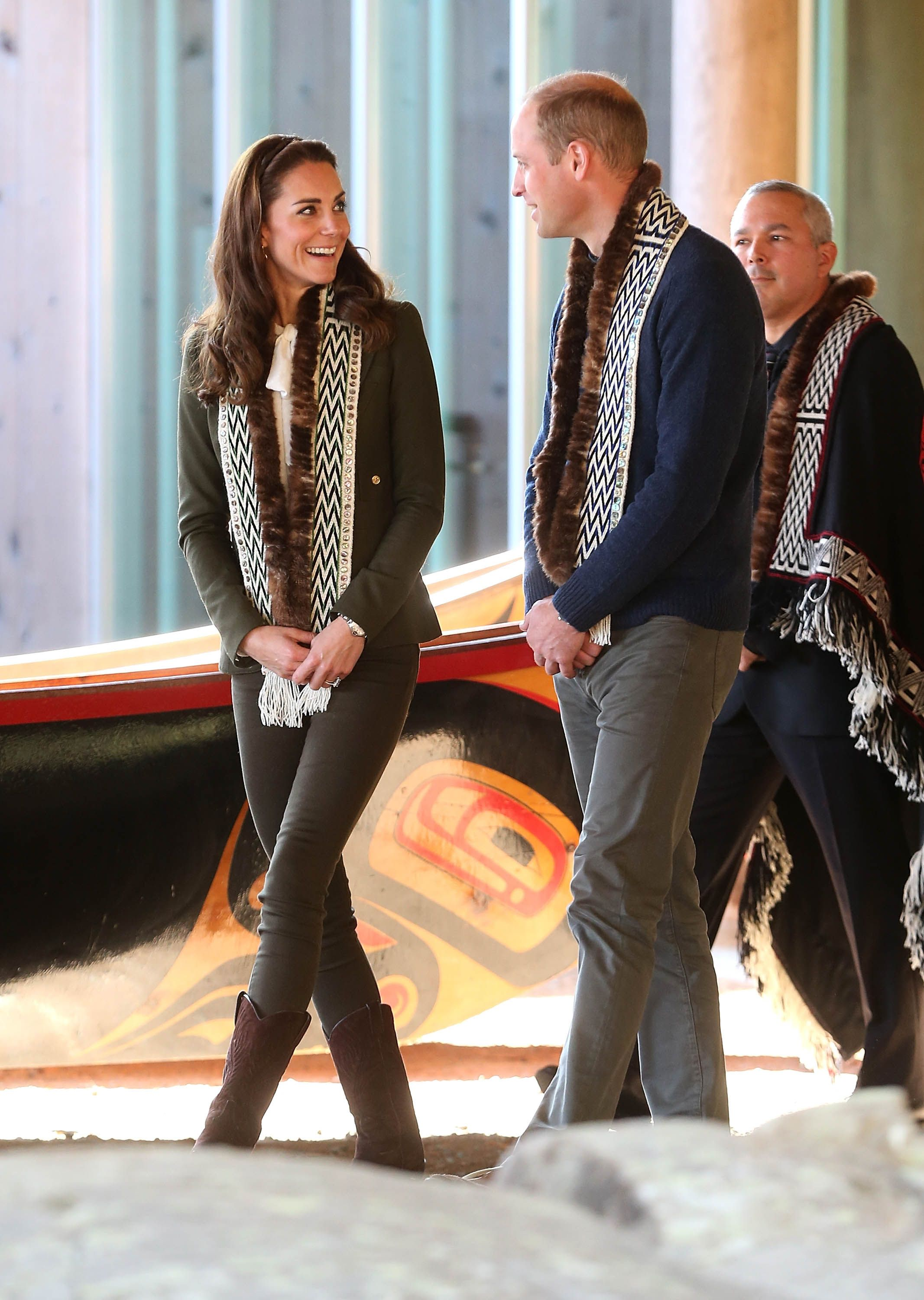 Kate Middleton wears grey check blazer and red trousers for