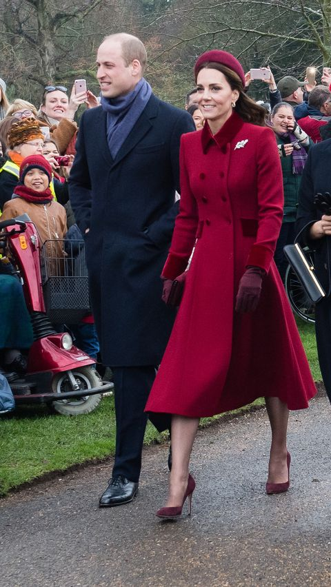 Kate Middleton with red dress and beret