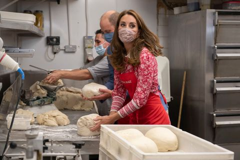 london, england   september 15 prince william, duke of cambridge and catherine, duchess of cambridge knead dough during a visit to beigel bake brick lane bakery on september 15, 2020 in london, england the 24 hour bakery was forced to reduce their opening hours during the pandemic and the duke and duchess heard how this affected employees, as well as the ways in which the shop has helped the local community through food donation and delivery photo by justin tallis   wpa poolgetty images