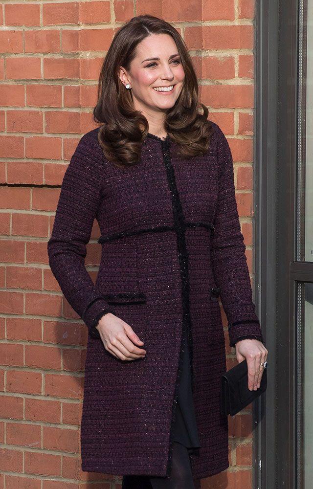kate middleton maternity look purple coat