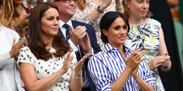 london, england   july 14  catherine, duchess of cambridge and meghan, duchess of sussex applaud ahead of the ladies' singles final match between serena williams of the united states and angelique kerber of germany on day twelve of the wimbledon lawn tennis championships at all england lawn tennis and croquet club on july 14, 2018 in london, england  photo by michael steelegetty images