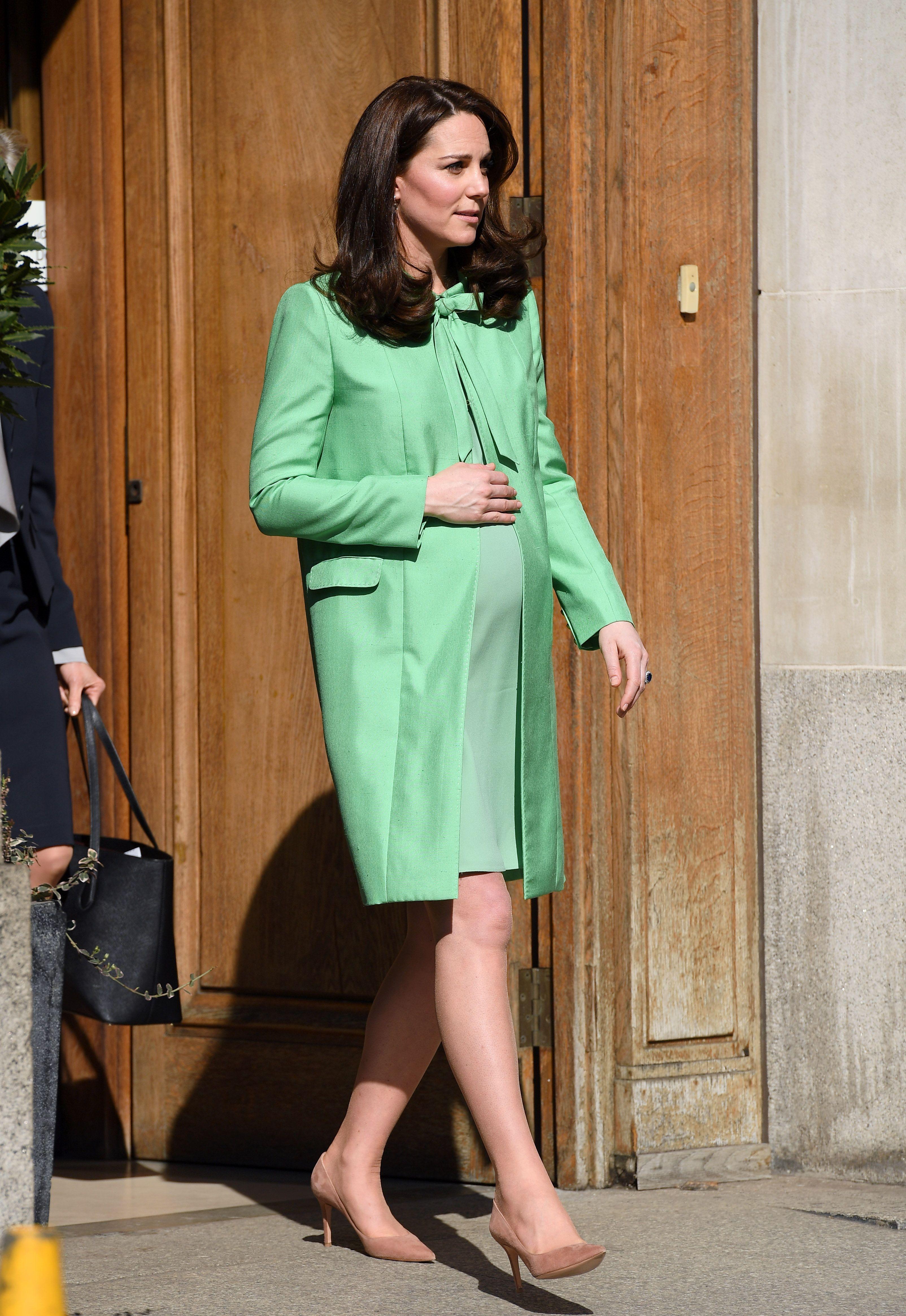 gorgeous mint green maternity coat