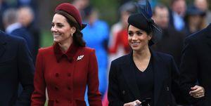 Kate Middleton en Meghan Markle op Eerste Kerstdag in Sandringham,2018.