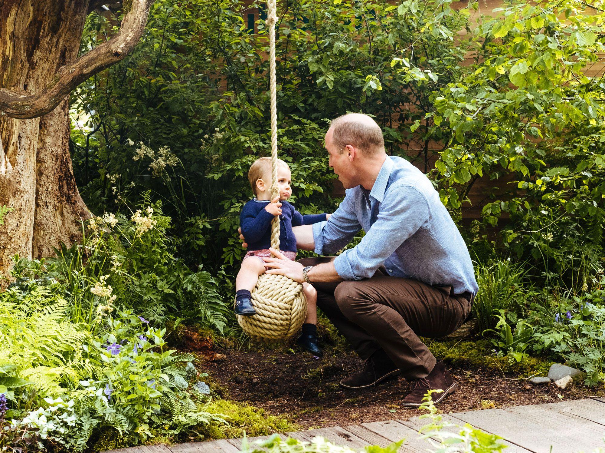 prince william prince louis swing garden chelsea flower show
