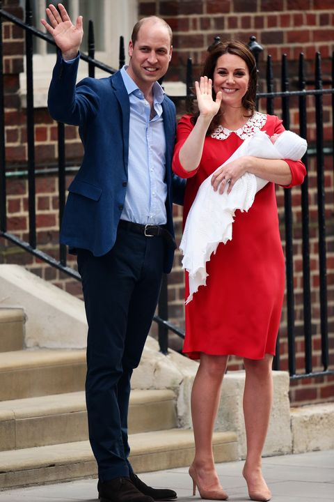 2d400546368 Kate Middleton Wore a Red Maternity Dress to Introduce New Royal Baby