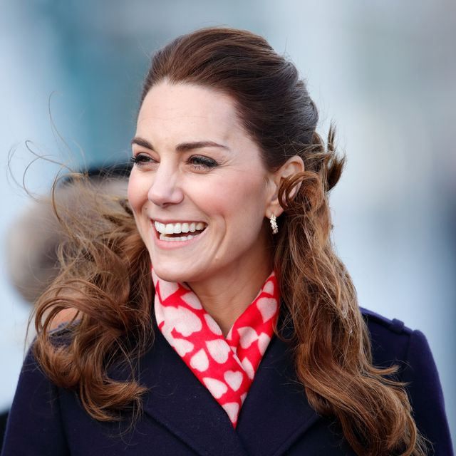 kate middleton's teenage crush is actually spooky   the duchess is seen here laughing wearing a heart print scarf