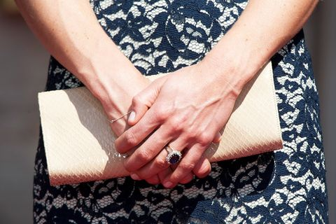 Kate Middleton S Blue Shire Engagement Ring And Welsh Gold Wedding Band Are Visible As She Holds A Clutch