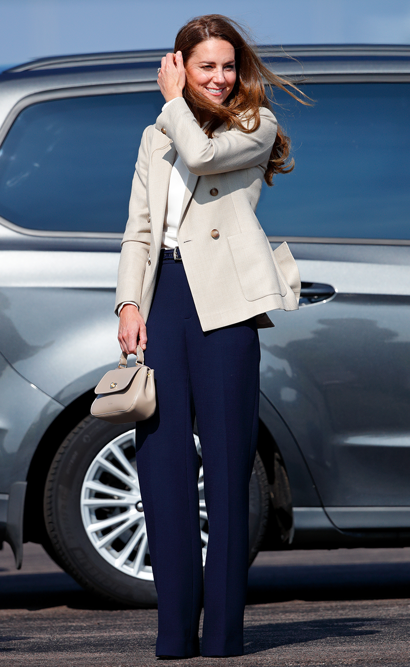 Kate Middleton returns to work in wide-leg trousers and a cream blazer