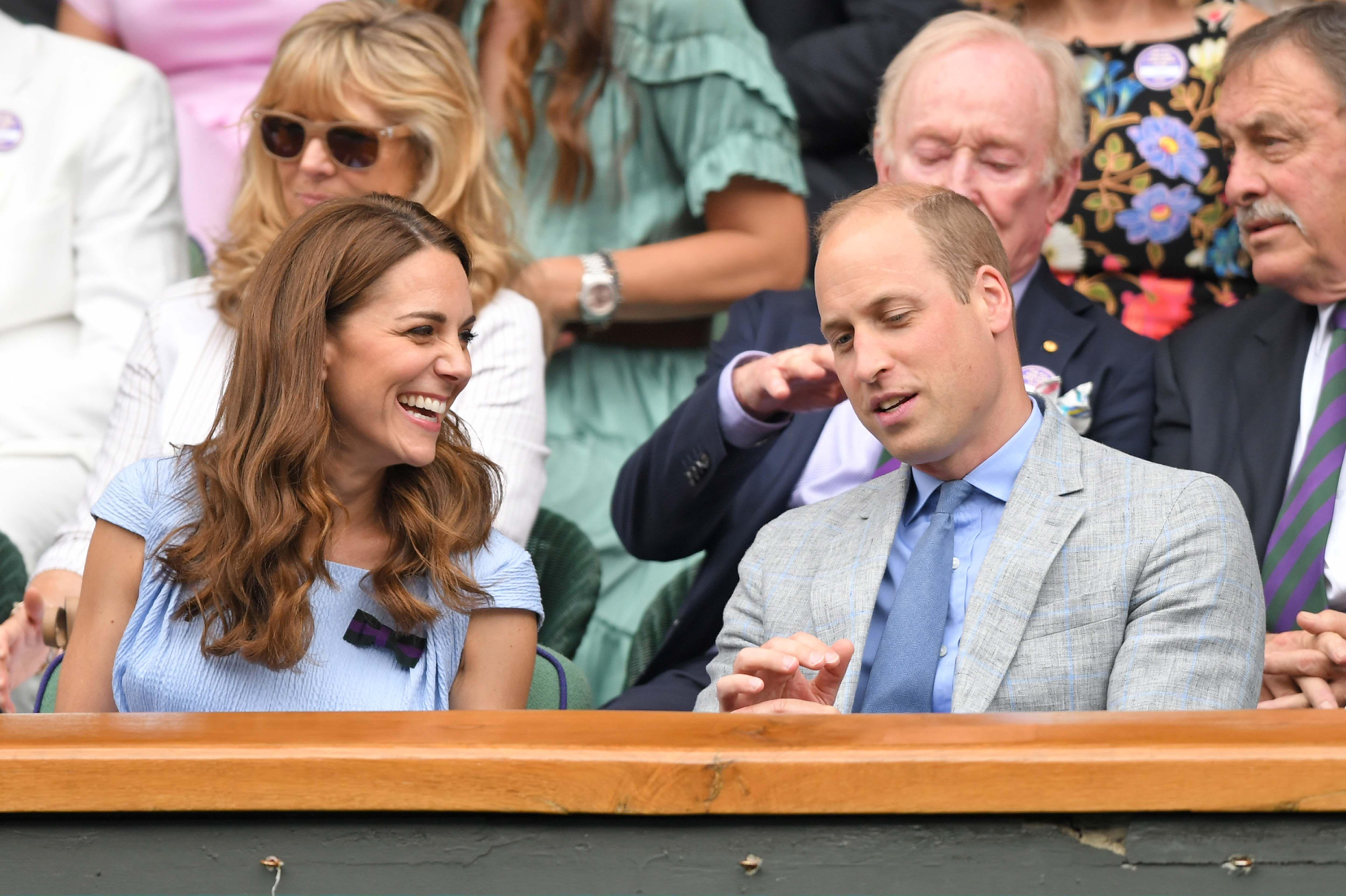 Kate Middleton Wears Custom Blue Emilia Wickstead Dress to Wimbledon with Prince William
