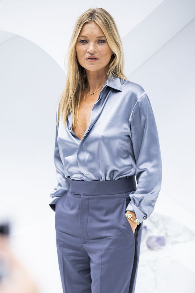paris, france   june 21 kate moss is seen during the dior homme menswear spring summer 2020 show on june 21, 2019 in paris, france photo by claudio laveniagc images