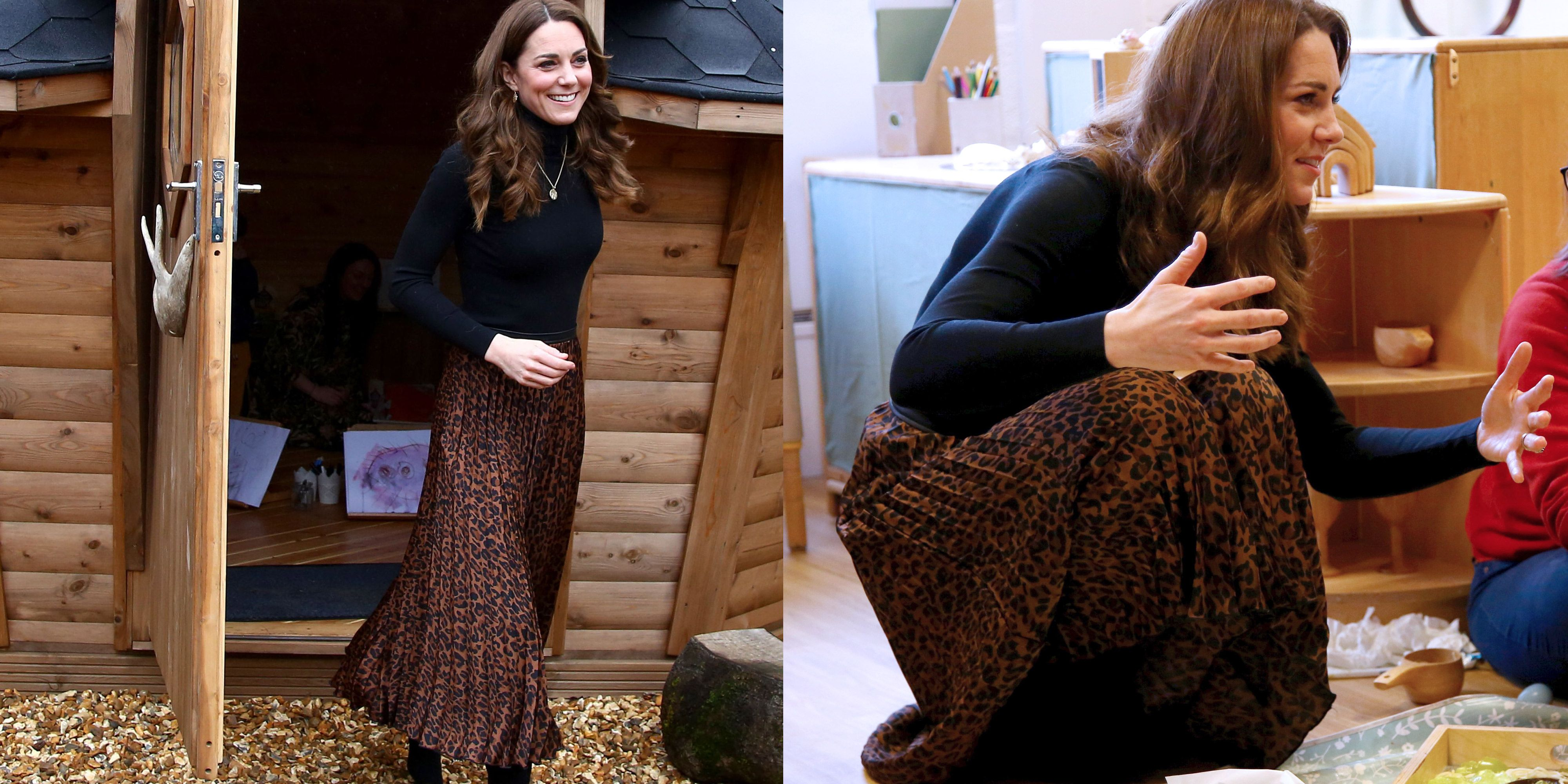 Kate Middleton Wore a Zara Leopard Print Skirt for a Visit to Wales