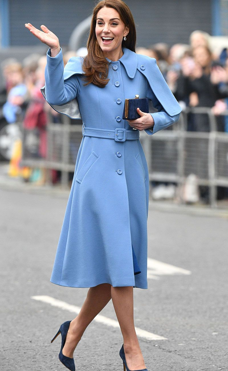 kate middleton in a blue cape coat