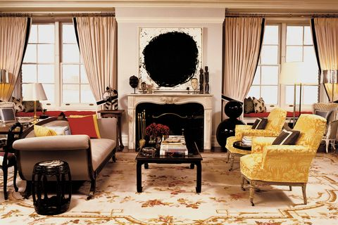 Living room, Room, Furniture, Interior design, Yellow, Curtain, Table, Home, Coffee table, House,