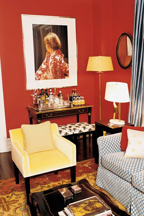 Room, Red, Furniture, Orange, Yellow, Living room, Interior design, Table, Couch, Home,