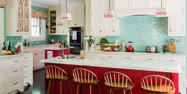 astonishing white kitchen red accents | 30+ Best Red Kitchens - Red Kitchen Decor