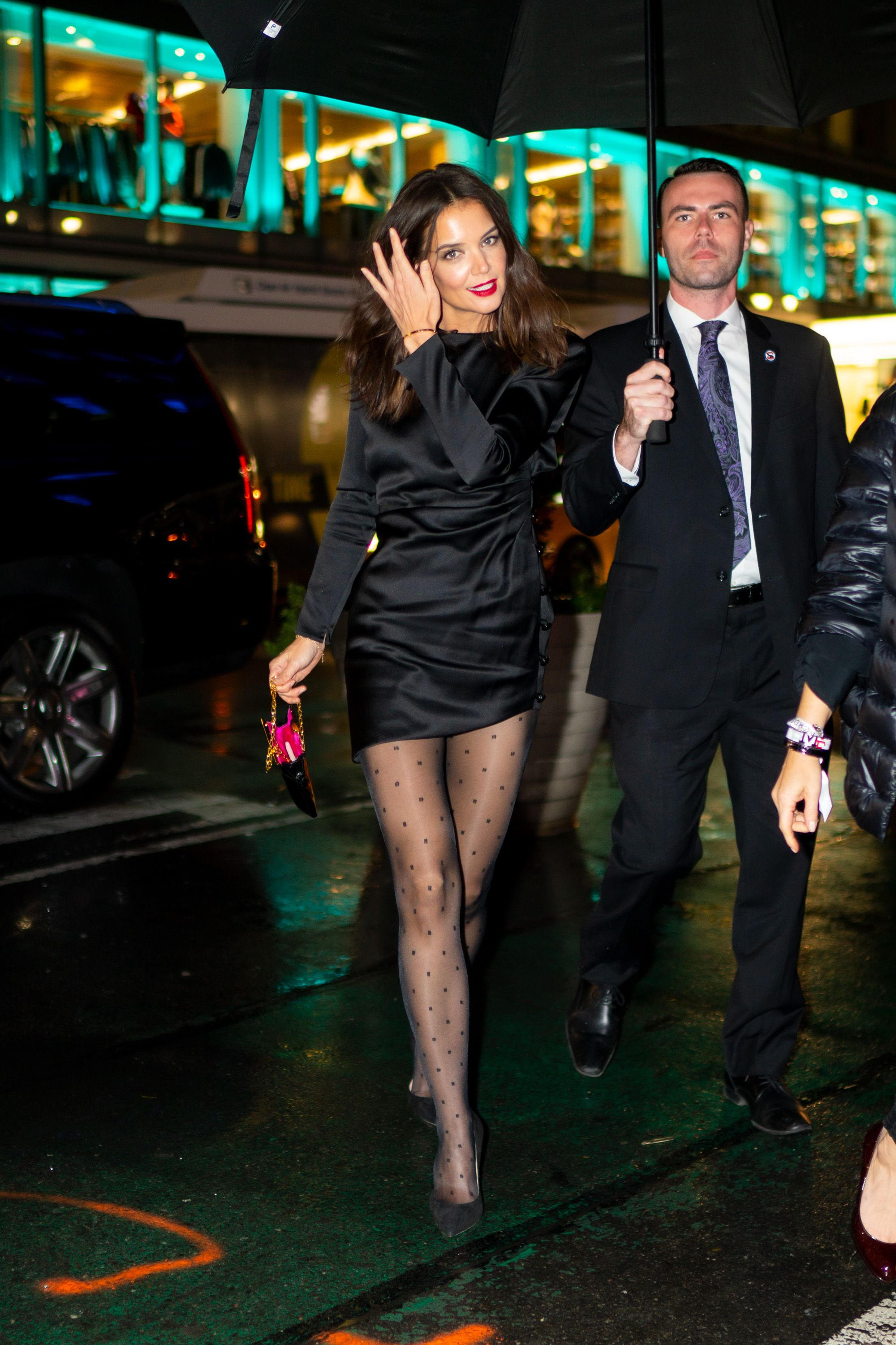 Katie Holmes Looked Incredible in a Black Dress and Sheer Tights in New York City
