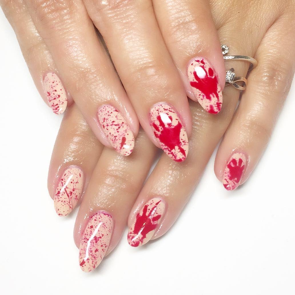Blood Splatter Halloween Nails