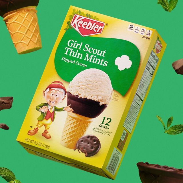 keebler girl scouts thin mints cookie ice cream dipped cones