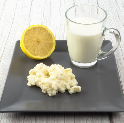 kefir fungus and whole cow's milk in a glass cup and half lemon