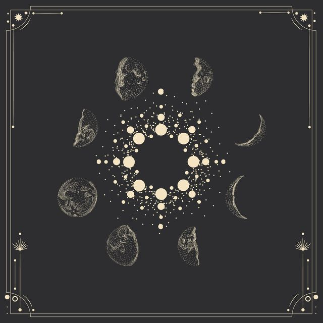 vector illustration set of moon phases different stages of moonlight activity in vintage engraving style zodiac signs
