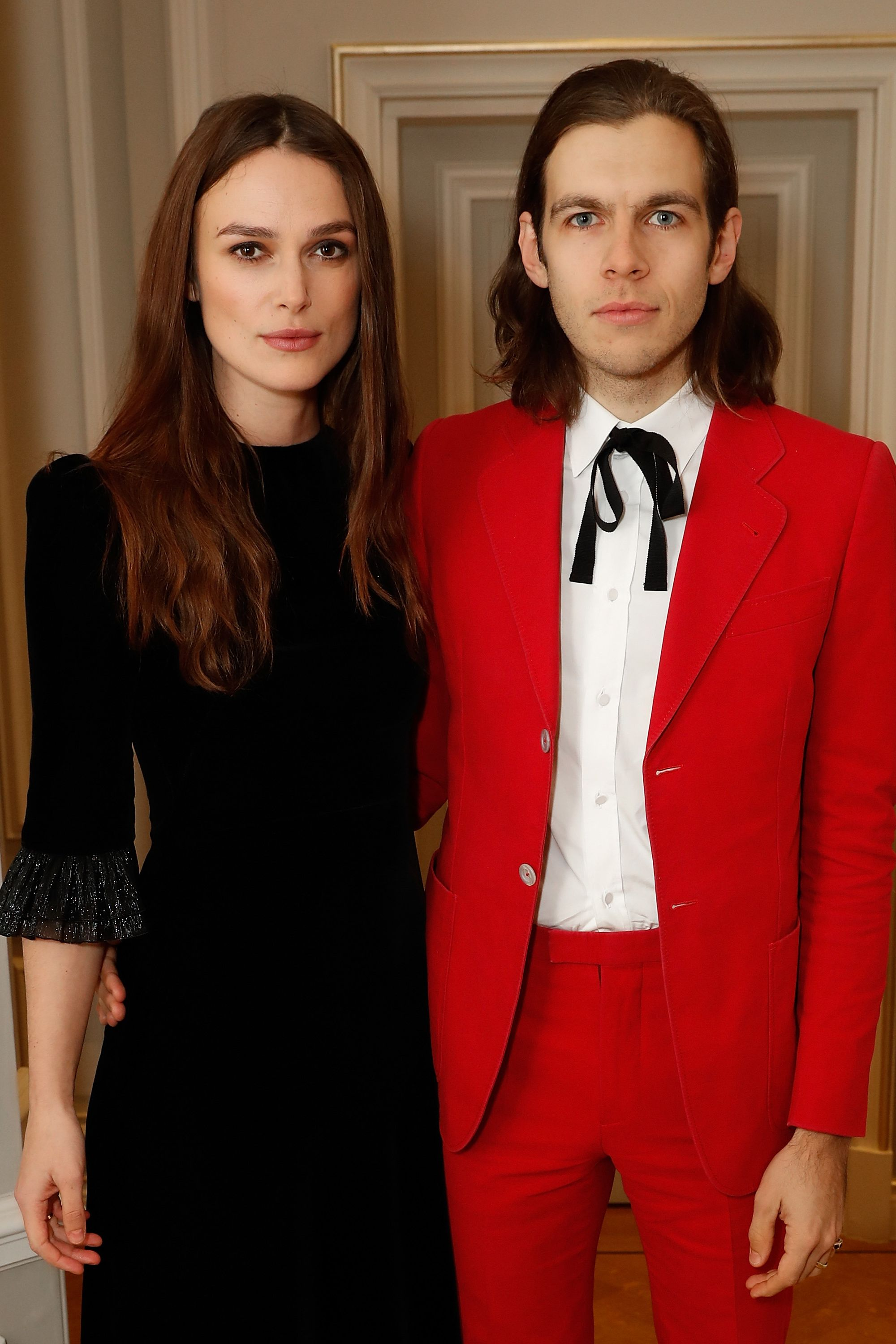 Kiera Knightley and James Righton The Pirates of the Caribbean actress and her musician husband have a similar face shape and strong eyebrows. When you pair that with long, brown hair they look even more alike.