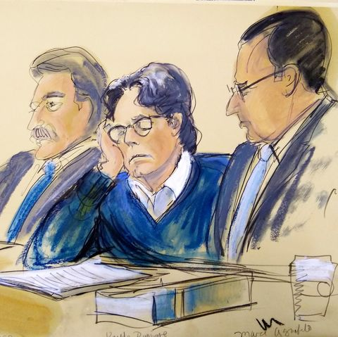 a courtroom sketch of keith raniere