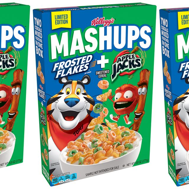 kellogg's mashups frosted flakes and apple jacks cereal