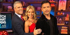 Kelly Ripa with Husband Mark Consuelos and Bravo Host Andy Cohen