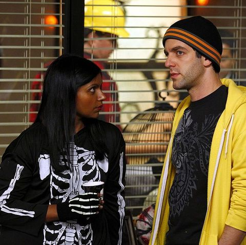 the office    spooked episode 806    pictured l r mindy kaling as kelly kapoor, bj novak as ryan howard    photo by trae pattonnbcnbcu photo bank