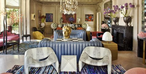 Room, Property, Interior design, Furniture, Living room, Building, Purple, Dining room, House, Home,