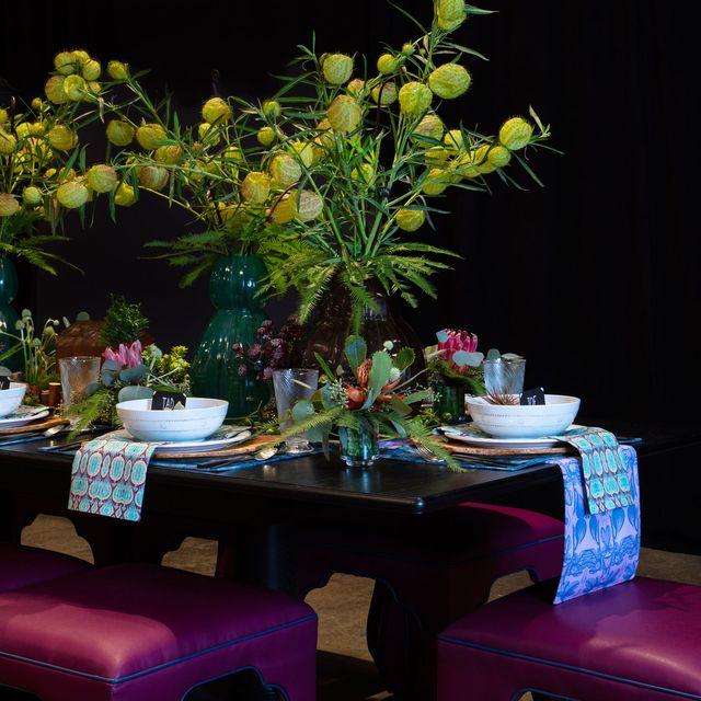 Lighting, Table, Houseplant, Room, Restaurant, Flower, Tablecloth, Design, Furniture, Plant,