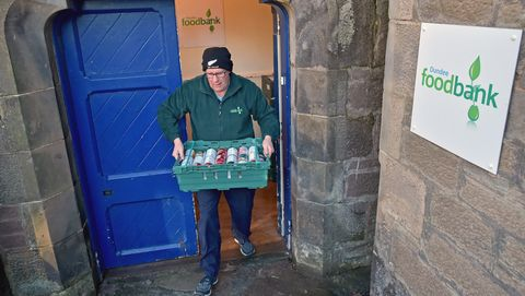 Christmas Hampers Are Distributed By The Trussel Trust Food Bank In Dundee