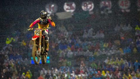 Motocross, Freestyle motocross, Motorcycle racing, Extreme sport, Racing, Motorsport, Crowd, Stunt, Vehicle, Flip (acrobatic),