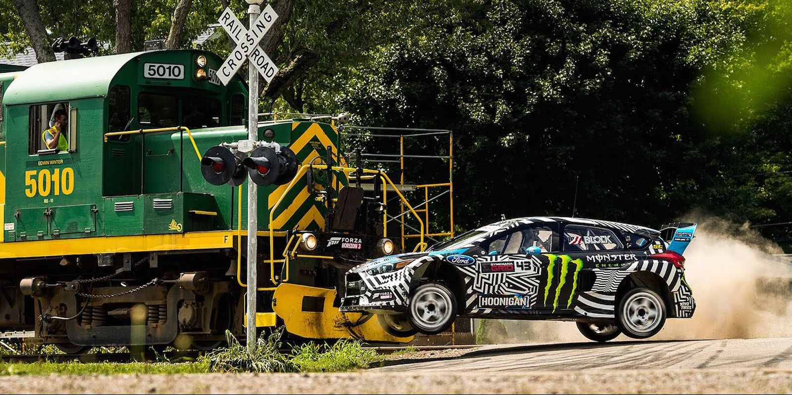 Gymkhana Nine train crossing stunt