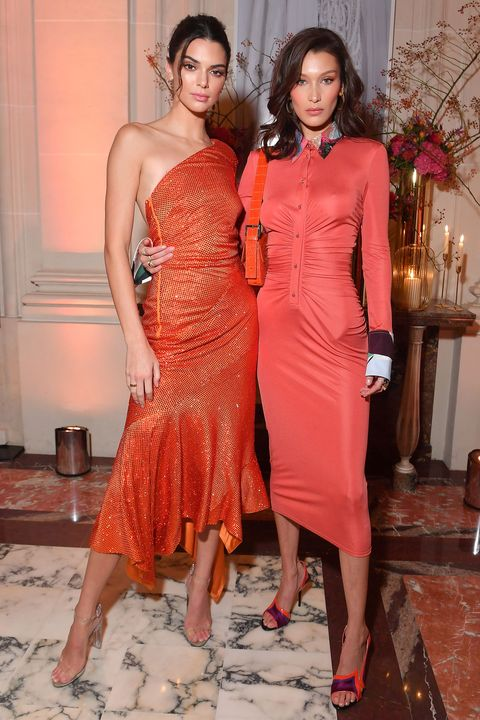 cbd2147783 Kendall Jenner and Bella Hadid step out in matching orange dresses ...
