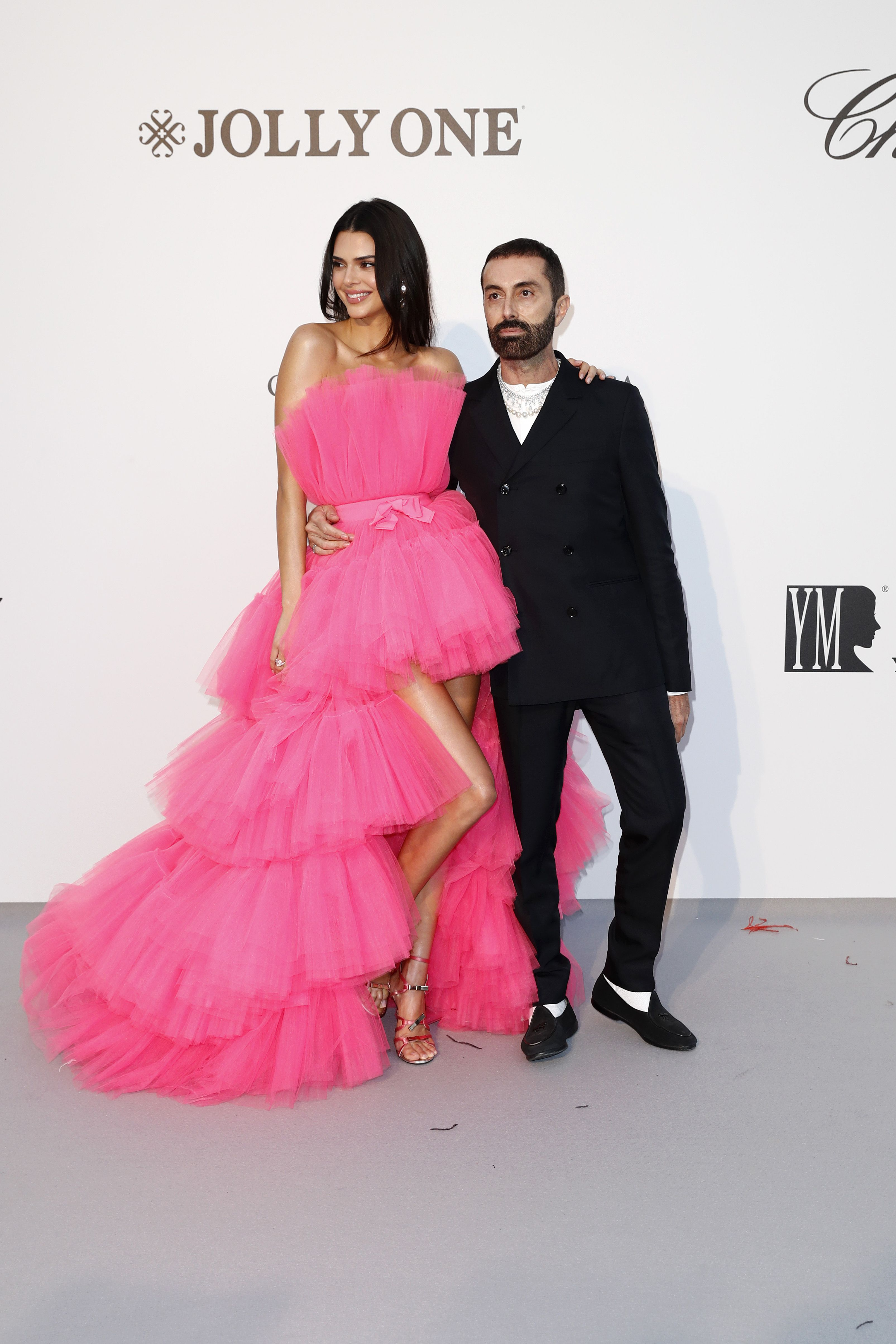 Kendall Jenner wears Giambattista Valli x H&M to the amfAR gala with the designer.