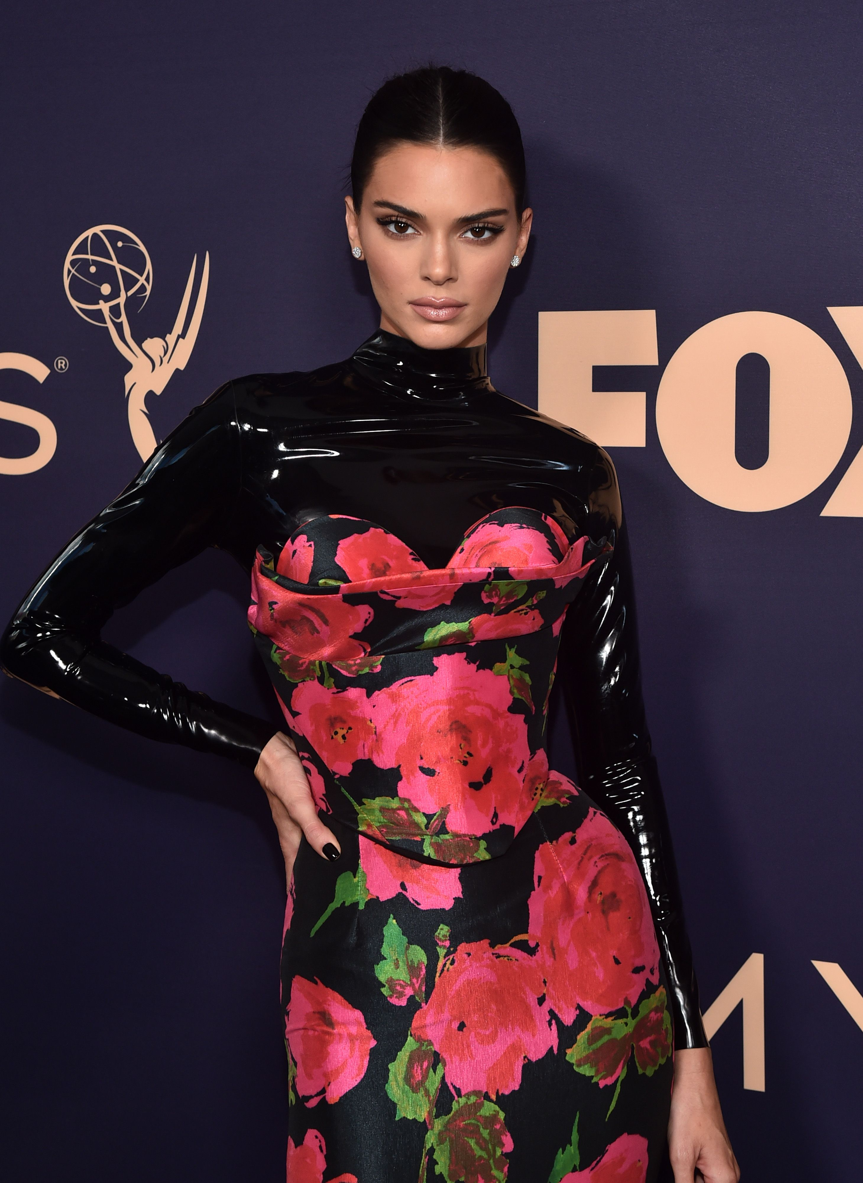 Kendall Jenner Is Back to Brunette and Wearing a Latex Floral Gown at the 2019 Emmys